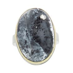 Jamie Joseph Oval Dendritic Opal Ring with Diamond (840 CAD) found on Polyvore