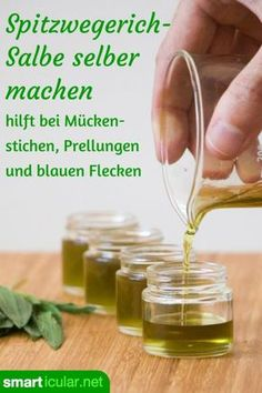 Spitzwegerichsalbe gegen Mückenstiche einfach selber machen This effective ointment against mosquito bites, you can make yourself with just a few ingredients – inexpensive and made of natural ingredients. Immortelle, Calendula Benefits, Insect Bites, Hygiene, Few Ingredients, Medicinal Herbs, Natural Cosmetics, Herbal Remedies, Natural Makeup