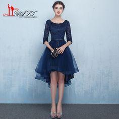 Navy Blue Lace Prom Dress Short