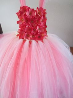 Coral and Ivory tulle dress by BBMCreations on Etsy, $50.00