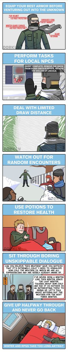 Dorkly Comic: Winter is Just Like Being In an RPG