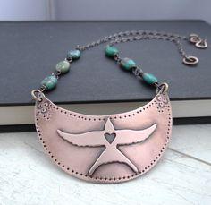Copper Swallow Bib Necklace  by LostSparrowJewelry