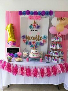 decoracion de mesa principal fiesta de unicornio (%)