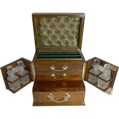 @isabellegeneva Magnificent Antique English Walnut and Glass Jewelry Box With Perfume Bottles