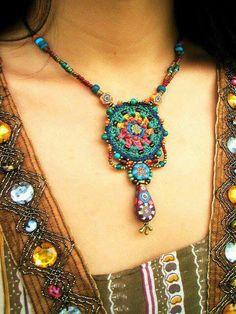 ~ crochet jewelry with handmade beads ~ - Handmade jewelry Textile Jewelry, Fabric Jewelry, Boho Jewelry, Jewelry Crafts, Jewelry Art, Beaded Jewelry, Jewelery, Jewelry Design, Jewelry Ideas