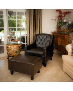 Living Room Chair And Ottoman Covers Wedding Gold 3183 Best Leather Chairs Ottomans Images Nfusion Kramer Tufted Brown Club From Jet Bhg Com
