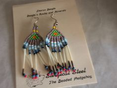 Beaded Earrings, Native American Brick Stitch with Porcupine Quills.