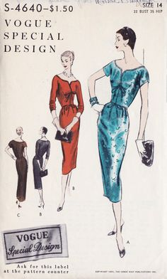 1950s Misses Slim Dress Vintage