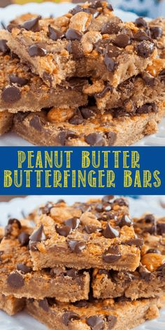 Peanut Butter Butterfinger Bars are a rich and chewy, easy dessert recipe! Fudgy… Peanut Butter Butterfinger Bars are a rich and chewy, easy dessert recipe! Fudgy, brownie like bars topped with crunchy Butterfinger bits and chocolate chips! Köstliche Desserts, Delicious Desserts, Dessert Recipes, Fudge With Condensed Milk, Butter Finger Dessert, Quick Easy Desserts, Easy Dessert Bars, Peanut Butter Chips, Homemade Chocolate