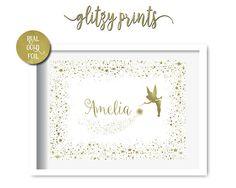 Gold Foil Print, Personalised Nursery Decor Print, Fairy Print,Nursery Wall Art, Tinkerbell Print, Baby Girl Nursery, Girls Room Decor
