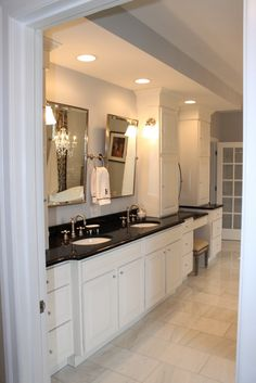 Black Bathroom Granite Countertops In A Large Private Room