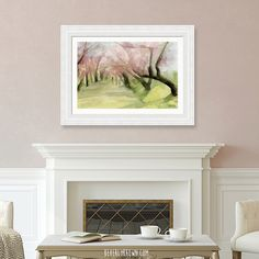 Light dusty pink and white traditional classic feminine living room with framed Central Park cherry blossoms painting print over the fireplace. Wall art by Beverly Brown. Large Framed Wall Art, Canvas Wall Art, Wall Art Prints, Framed Prints, Watercolor Paintings For Sale, Pink Painting, Blossom Trees, Cherry Blossoms, Blush Pink Living Room