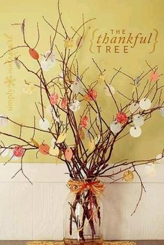 I so want to do this....Thanksgiving tree! Adults and Kids can hang paper pumpkins with what they're thankful for everyday in nov then read on thanksgiving day by lynn