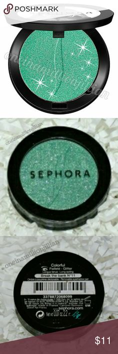 Sephora Colorful Eyeshadow Single New/Sealed (Swatches from Google)  Full Size & Authentic  Color: Break the Bank (emerald green w/ silver glitter)  Flash superior color, flawless wear & long-lasting beauty with this striking eye shadow formula. The Color Eye Last complex means you can comfortably wear this shadow up to 10 gorgeous hours & the micronized pigments ensure an ultra smooth, blendable texture.  Don't forget to check out the rest of my page for more great items & discounts…
