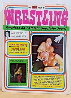 """Headlining """"Baron Von Raschke vs Baron Red Cloud"""", this magazine also features an uncut All-Star Trading Card No. 2 for Norman Charles Frederick III of the Royal Kangaroos! Up for sale is this fully intact 1973 Big Book of Wrestling magazine.   eBay!"""