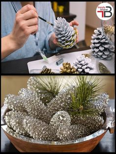 holiday crafts Some cheap ideas for Christmas Tree Projects - Christmas season is just around the corner and you may also have started some Christmas preparations. So have you thought of Christmas tree projects o. Stick Christmas Tree, Christmas Pine Cones, Silver Christmas Decorations, Pine Cone Decorations, Easy Christmas Crafts, Christmas Centerpieces, Rustic Christmas, Christmas Projects, Simple Christmas