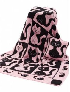 Free Cat & Mouse Throw & Pillow Crochet Pattern