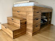 bunker bed with 6 drawers, middle shelfs are on wheels so u can get to hidden storage.