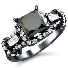 2.80ct Black Princess Cut Diamond Engagement Ring 18k Black Gold