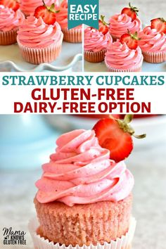 egg free dessert Gluten Free Strawberry Cake Recipe, Vegan Cupcake Recipes, Strawberry Recipes, Dairy Free Recipes, Strawberry Cupcakes, Easy Gluten Free Cupcake Recipe, Banana Cupcakes, Lemon Cupcakes, Gf Recipes