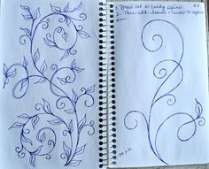 """1. Draw out a curly spine 2. Then add leaves & curls to spine"" ~ May Your Bobbin Always Be Full"