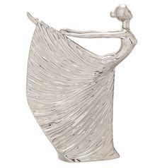 Glossy Silver Ceramic Figurine