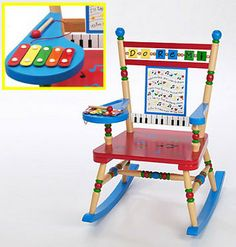 Musical Rocker by Levels of Discovery Mini five-note xylophone with wooden mallet attached to arm Whimsical keyboard and sheet music backrest with song Baby Shower Gift Basket, Baby Shower Gifts, Baby Gifts, Shower Baby, Baby Glider, Glider Chair, Childrens Rocking Chairs, Fun Songs, Furniture Manufacturers