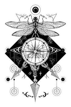 Dragonfly, compass crossed arrows tattoo. Mystical symbols traveler, dreamer. Occult and astrological zodiac signs. Boho style, adventure, travel, t-shirt design. Dragonfly, rose compass tatto art Vector