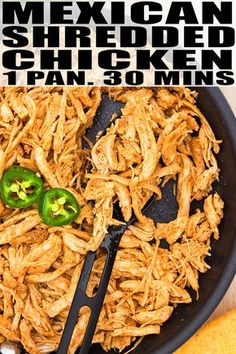 Mexican shredded chicken recipe- quick, easy, made on the stovetop in 1 pot and only 30 minutes. great for tacos, casseroles and sandwiches. Shredded Chicken Sandwiches, Slow Cooker Shredded Chicken, Mexican Shredded Chicken, Slow Cooker Chicken Tacos, Baked Chicken Tacos, Chicken Taco Recipes, Shredded Chicken Recipes, Mexican Food Recipes, Chicken For Nachos