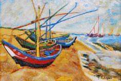 Barques aux Saintes-Marie d'après Van Gogh