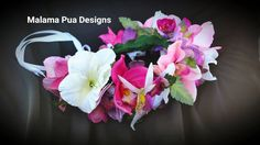 SILK FLOWER CROWN - Hawaiian. Tropical Headpiece, Bridal, Orchids, Hair piece, Beach Wedding Accessory, Flower Girl, Custom Hair Accessory by MalamaPua on Etsy