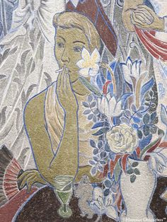 Party in the City (self-portrait, with a small Moomintroll ) - Tove jansson, 1947. Finnish , 1914–2001 Fresco