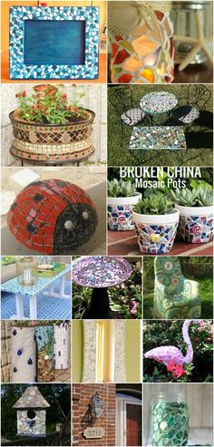 30 Gorgeous Mosaic Projects To Beautify Your Home And Garden - DIY diy home and garden crafts - Diy Crafts For Home Diy Art Projects, Mosaic Projects, Mosaic Ideas, Sewing Projects, Broken Glass Crafts, Mosaic Garden Art, Mosaic Crafts, Cement Crafts, Mosaic Designs