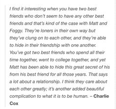 Most important relationship tbh. matt murdock/daredevil and foggy text post
