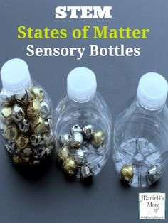 STEM States of Matter Sensory Bottles- Children can see, hear, and move the jingle bell molecules while exploring matter.