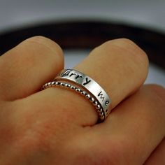 renewing your vows: Stacking Rings  Silver Personalized Ring  Marry Me by thebeadgirl, $84.00