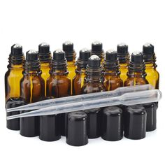 12pcs New 10ml Amber Glass Roll on Bottles with stainless steel roller ball black cap lid for perfume essential oil aromatherapy #Affiliate