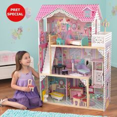 This KidKraft wooden dollhouse includes 16 pieces of furniture, heart-shaped latticework, hanging chandelier, wide windows for viewing and an elevator. Wooden Dollhouse, Wooden Dolls, Dollhouse Dolls, Dollhouse Furniture, Toddler Dolls, Toddler Bed, Reborn Dolls Silicone, Elevator Design, Hanging Chandelier