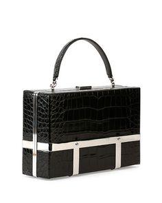 Alexander McQueen Cage Crocodile-Stamped Case, Black