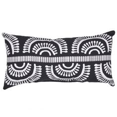 The Outdoor Throw Lumbar Pillow from Threshold™ enhances your patio space with softness and comfort. It has a bold black and white geometric design that adds a fun pop of texture and style to any outdoor space. This geometric print outdoor lumbar pillow for patio chairs is weather-, UV- and fade-resistant for long-lasting use.
