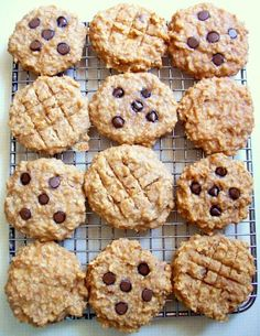 Peanut Butter Banana Oat Breakfast Cookies with Carob/Chocolate Chips Breakfast cookies. High protein no flour or processed sugar.(Ingredients: bananas peanut butter applesauce vanilla quick oatmeal nuts optional chocolate chips) Source by qwietpleez Breakfast Cookies, Breakfast Recipes, Dessert Recipes, Banana Breakfast, Protein Breakfast, Protein Oatmeal, Mexican Breakfast, Breakfast Bites, Breakfast Sandwiches