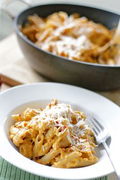 creamy pumpkin pasta --very good! Added browned spicy chicken sausage.