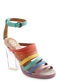 The Rainbow Where You Please Heel brings all the colors of the rainbow together, just like the threads in the painting do. #ModCloth #allevato