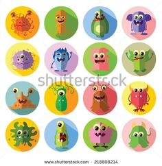 Cartoon cute flat monsters  - stock vector