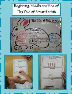 The Tale of Peter Rabbit activities- Beginning,middle,and end anchor chart and character analysis and writing