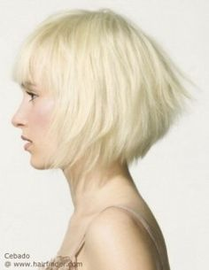 Chin length angled bob with a shorter back section and layers. Blonde hair.
