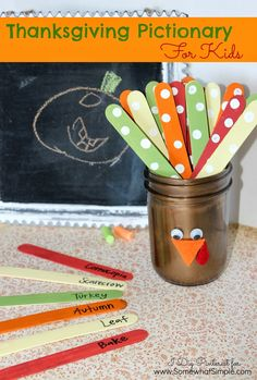 """Hey! It's Christine again from I Dig Pinterest, and I'm here sharing a fun and simple Thanksgiving Pictionary game for kids using a painted Mason jar turkey with Popsicle stick """"…"""
