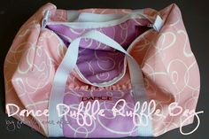 Dance Duffle Ruffle Bag Tutorial - make a paper one first to make sure it's big enough!