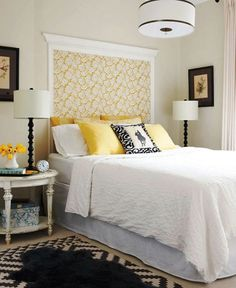 Attach fabric to the wall and frame it with molding. Finish it off by adding crown molding at the top. For more DIY headboard ideas, go to http://decoratingfiles.com/2012/08/diy-headboards-10-creative-ideas/