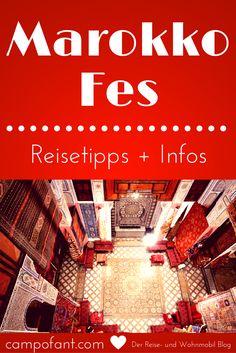 Fes in Marokko - eine Stadt, die man gesehen haben sollte. Wir zeigen dir, wie du am besten die Medina von Fes besuchst und welche Hotels, Riads und Campingplätze es in Fes gibt. Komm mit uns in eine Welt aus 1001 Nacht nach Marokko. Fes ist der ideale Ausgangspunkt, um alte, marokkanische Traditionen kennenzulernen. Unsere Reisetipps und Infos helfen dir dabei diese einmalige Stadt zu besichtigen. Ein Marokko Reisebericht.
